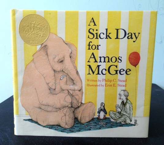 A Sick Day for Amos McGee written by Philip C. Stead and illustrated by Erin E. Stead. ROARING BROOK PRESS, 2010