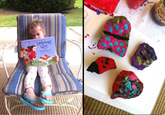 A Picture Book & A Project: Ladybug Girl and the Bug Squad (by David Soman and Jacky Davis) and painting rocks like bugs!