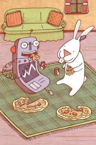 Image from Rabbit and Robot: The Sleepover by Cece Bell.