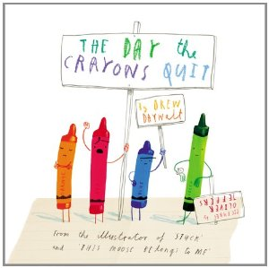 "Cover from ""The Day the Crayons Quit"" by Drew Daywalt and illustrated by oliver Jeffers"