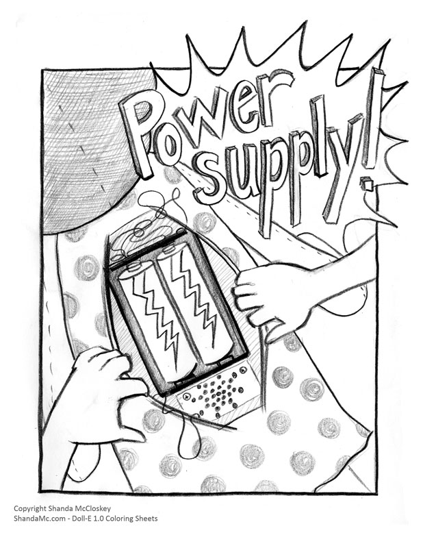 Doll-E 1.0 coloring sheet of the power supply or batteries.