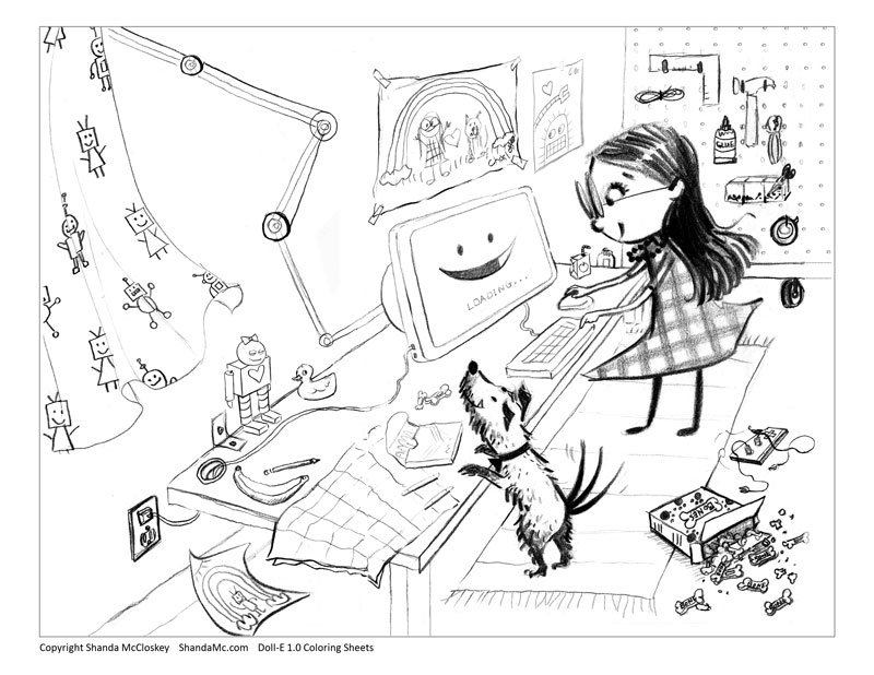 Doll-E 1.0 coloring sheet of Charlotte in her room with her dog.