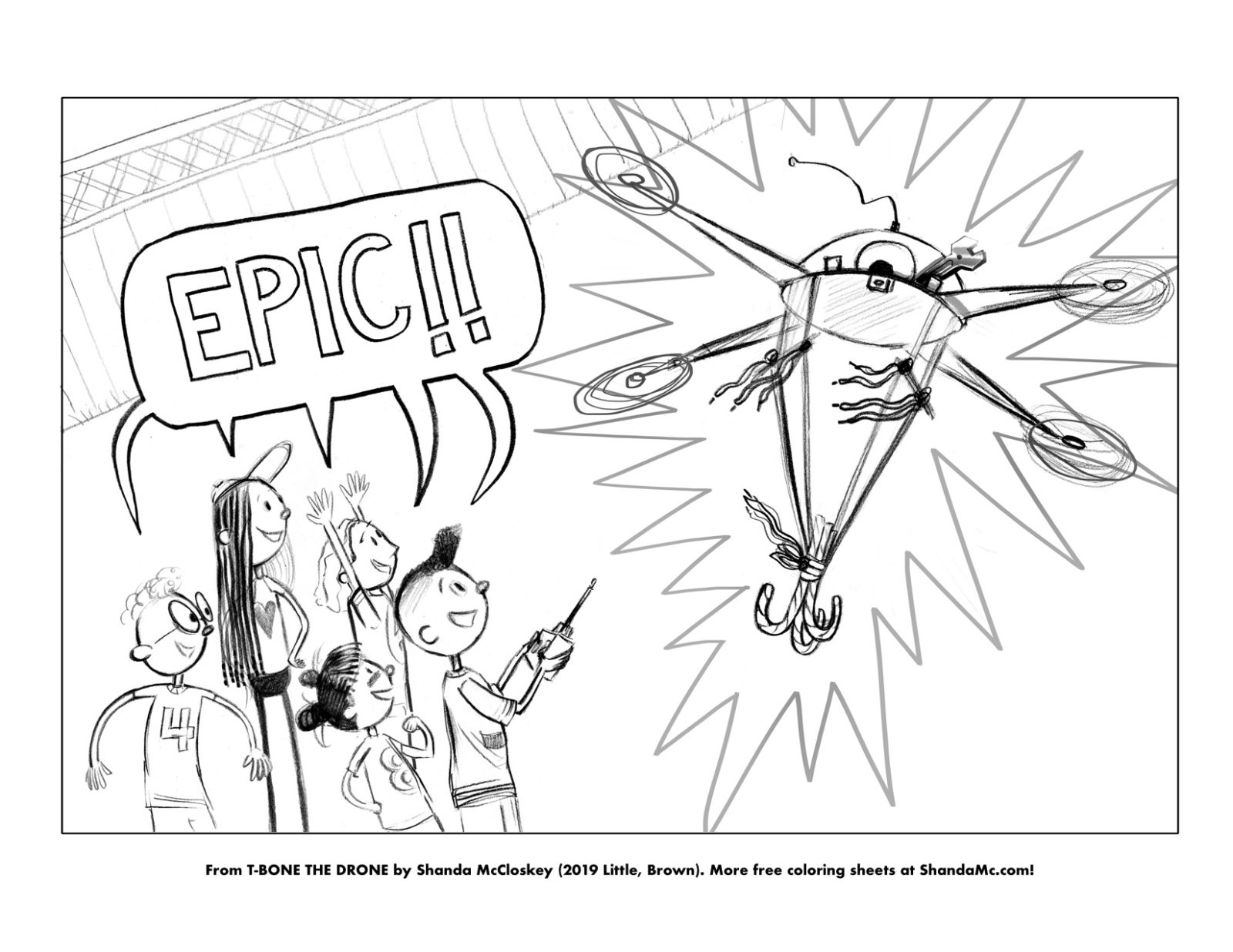T-Bone the Drone coloring sheet of an epic moment.