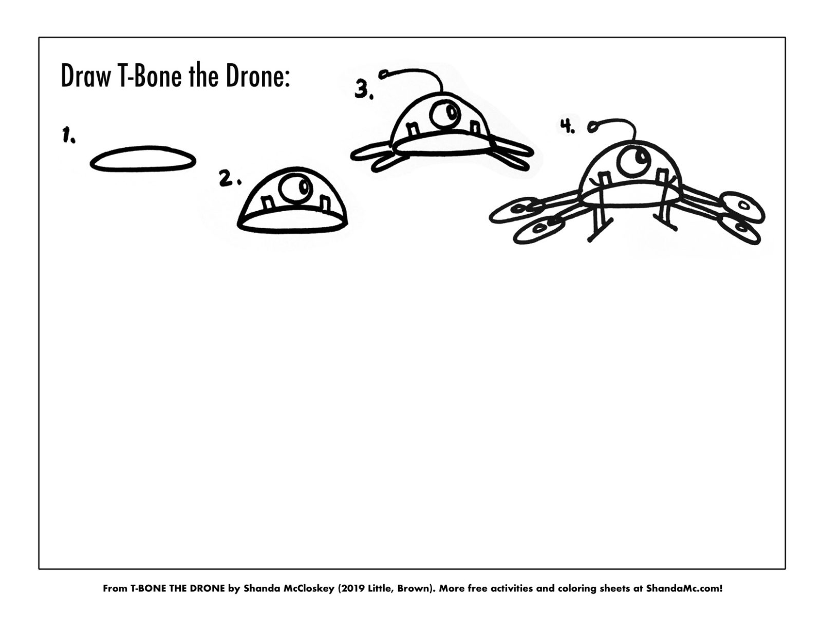 How-to-draw T-Bone the Drone from the book T-Bone the Drone by Shanda McCloskey