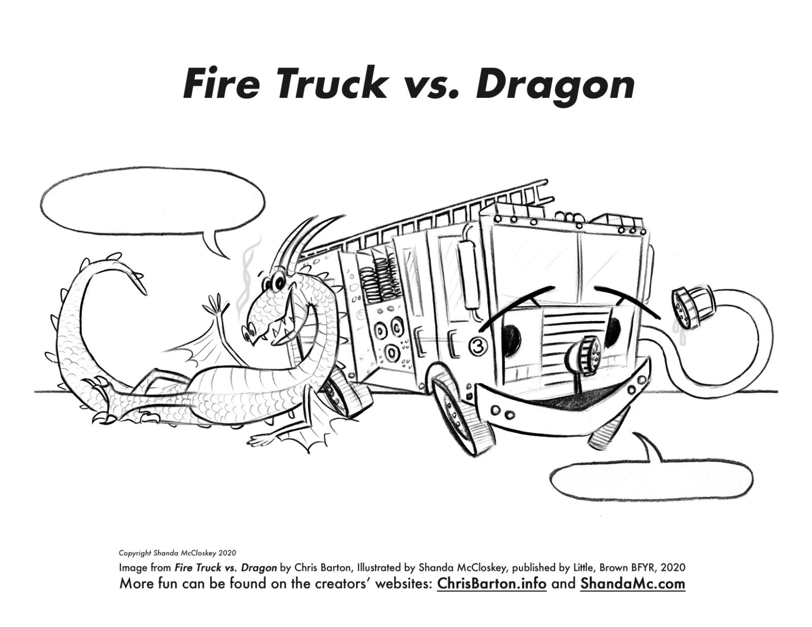 Fire Truck vs. Dragon coloring sheet waiving hello.