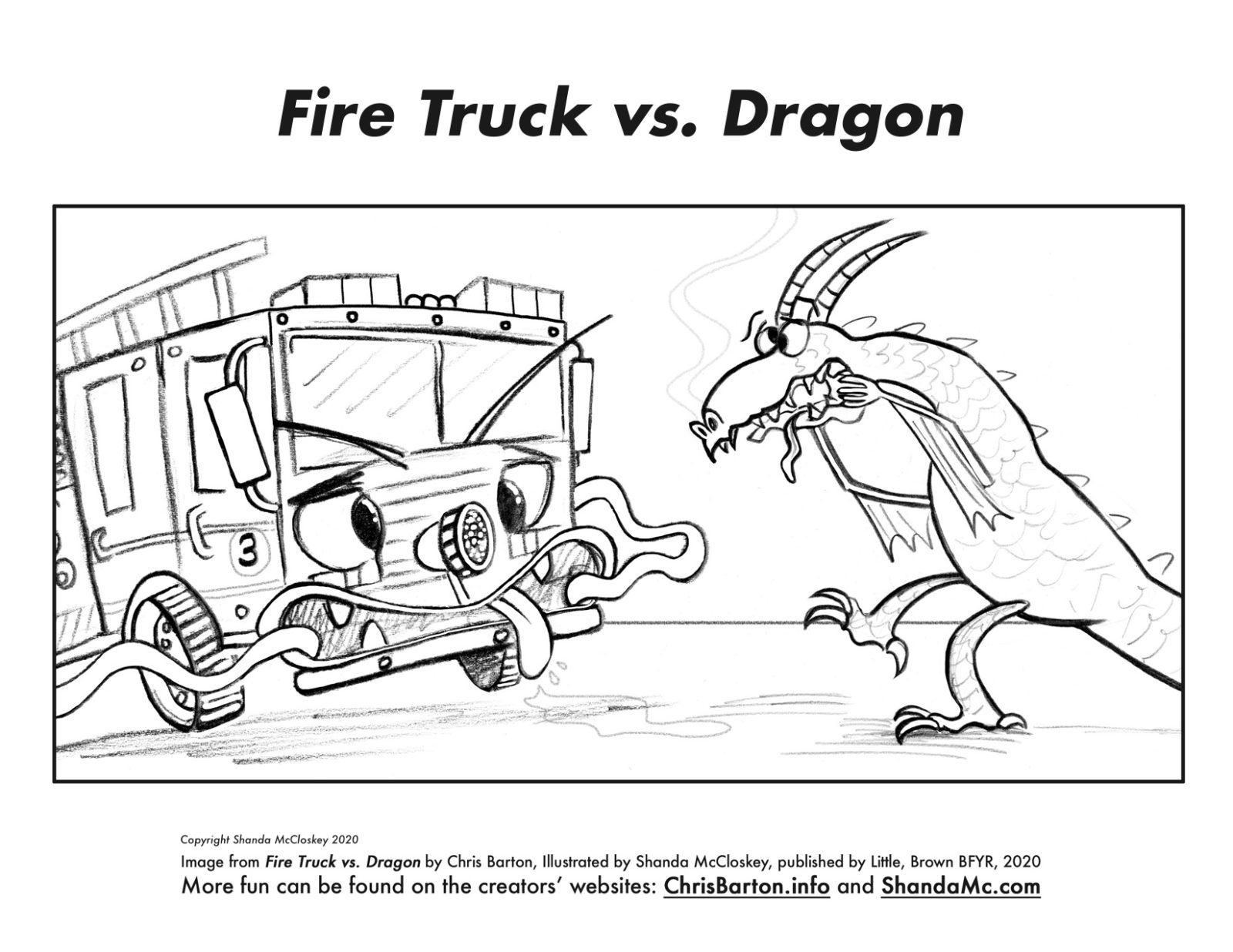 Fire Truck vs. Dragon coloring sheet making silly faces.