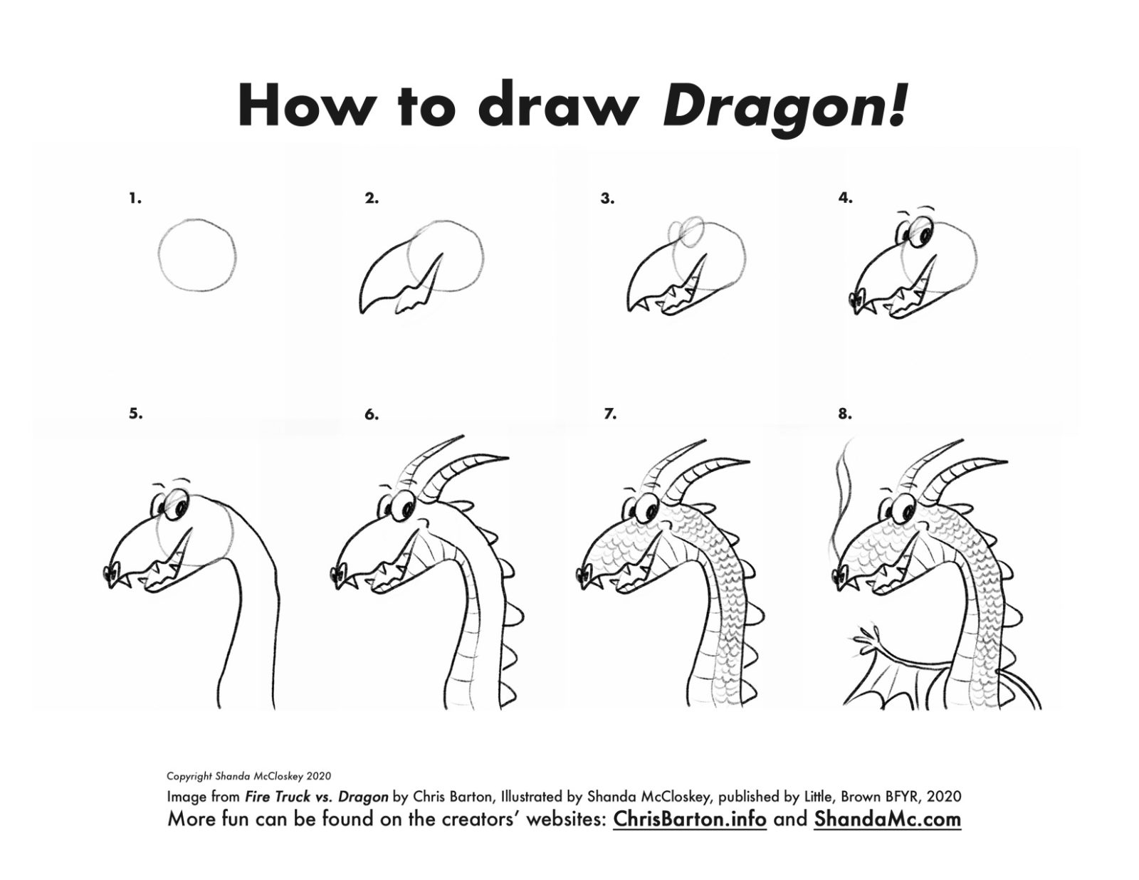 How-to-draw Dragon from the book Fire Truck vs. Dragon by Chris Barton, illustrated by Shanda McCloskey