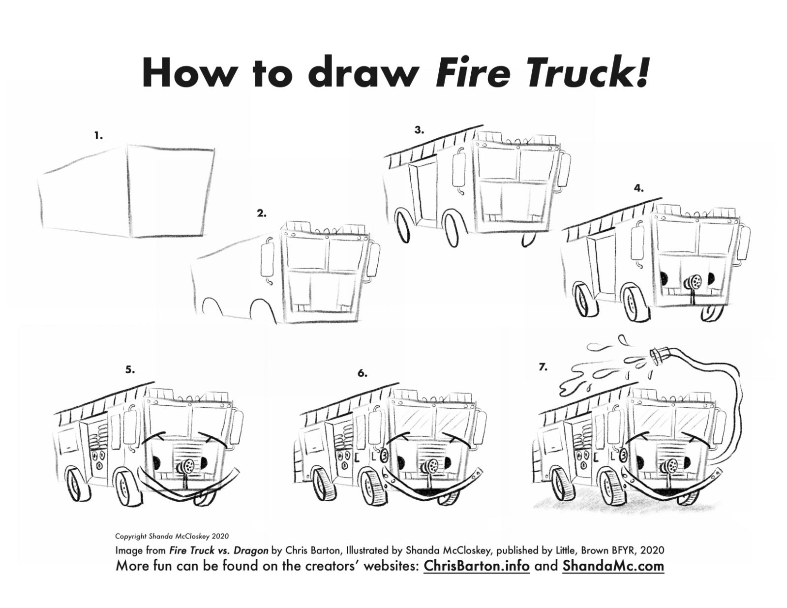 How-to-draw Fire Truck from the book Fire Truck vs. Dragon by Chris Barton, illustrated by Shanda McCloskey
