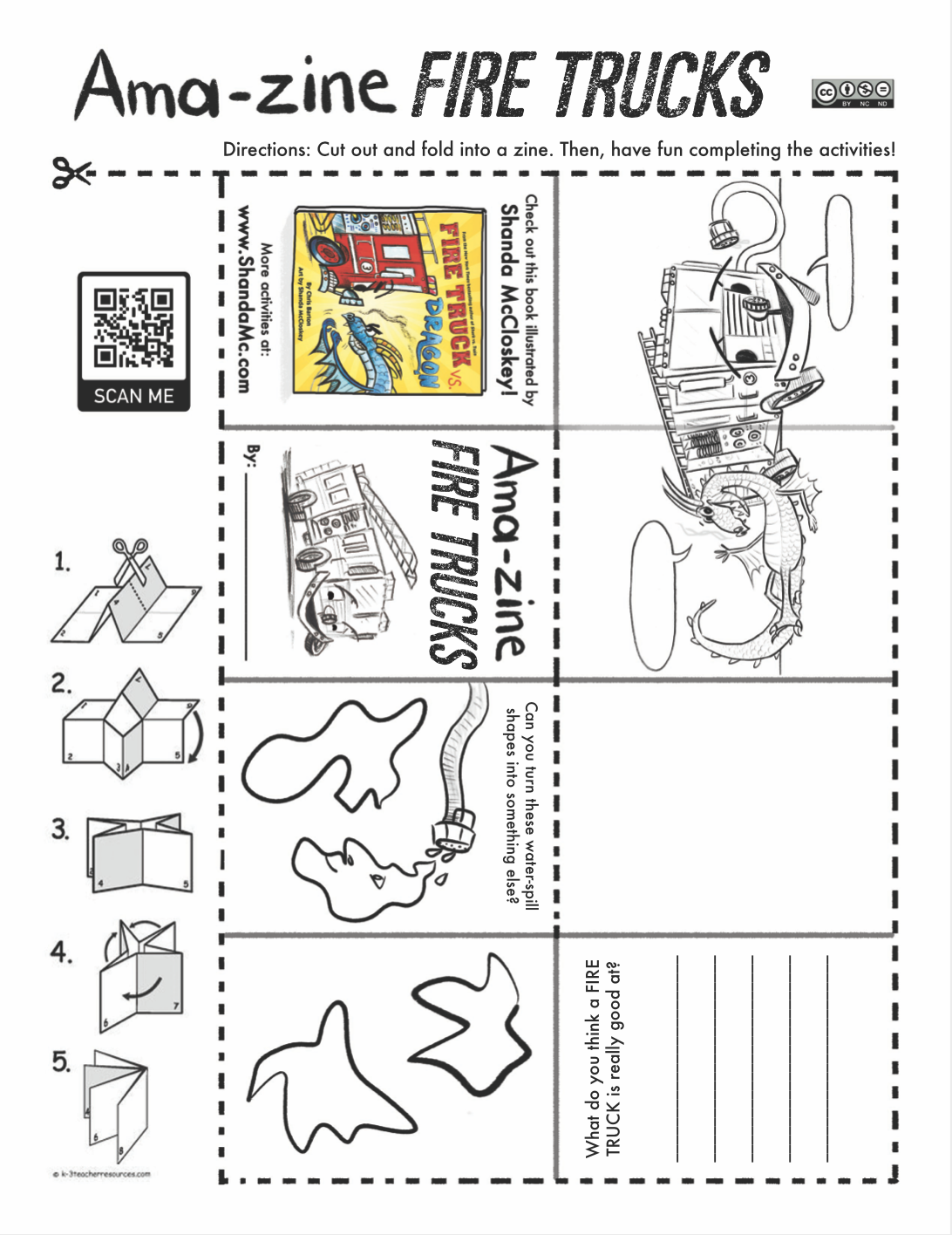 Amazing fire trucks zine activity inspired by the book, Fire Truck vs. Dragon, by Chris Barton and Shanda McCloskey