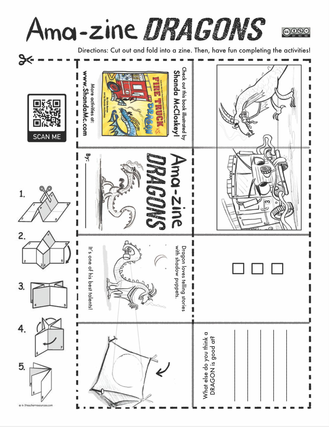 Amazing dragons zine activity inspired by the book, Fire Truck vs. Dragon, by Chris Barton and Shanda McCloskey