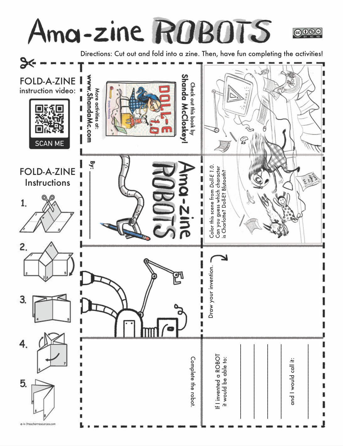 Amazing robots zine activity inspired by the book, Doll-E 1.0, by Shanda McCloskey