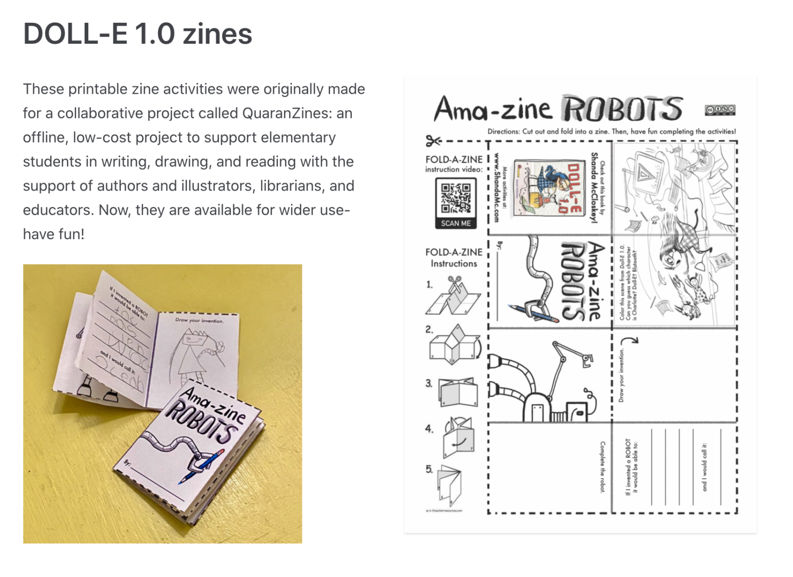 Example of Shanda McCloskey's ROBOT zine.
