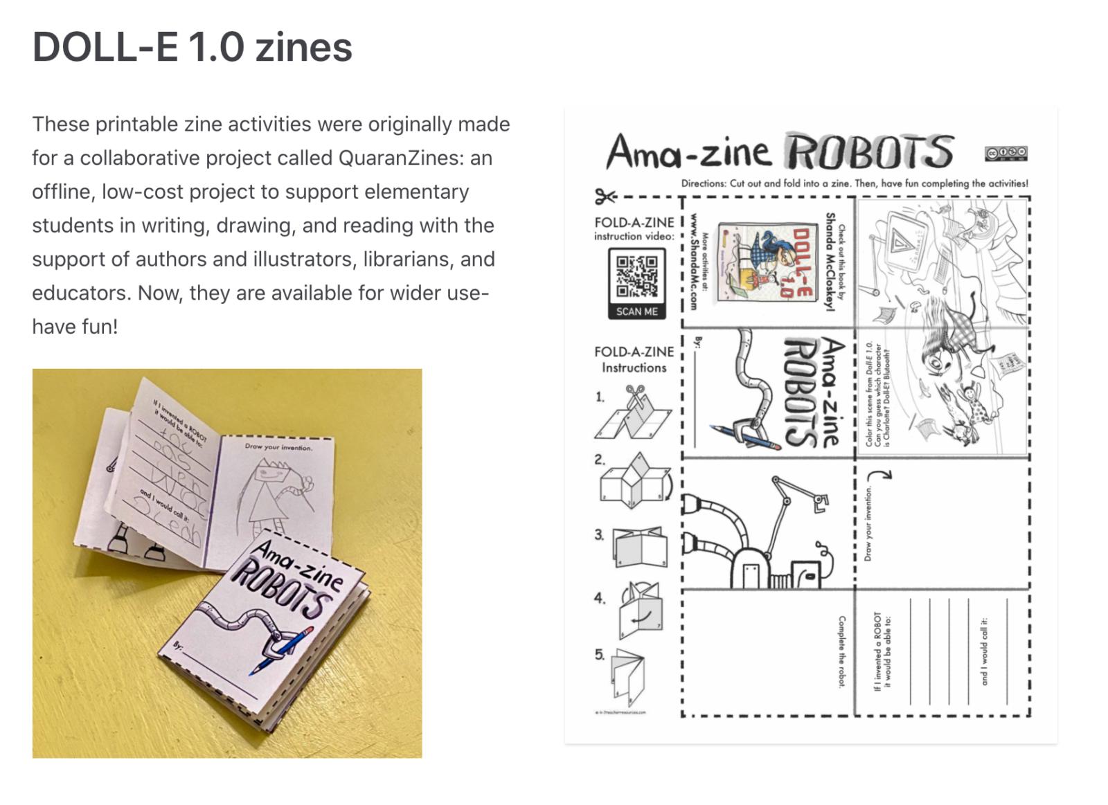 Example of Shanda McCloskey's ROBOT zine.