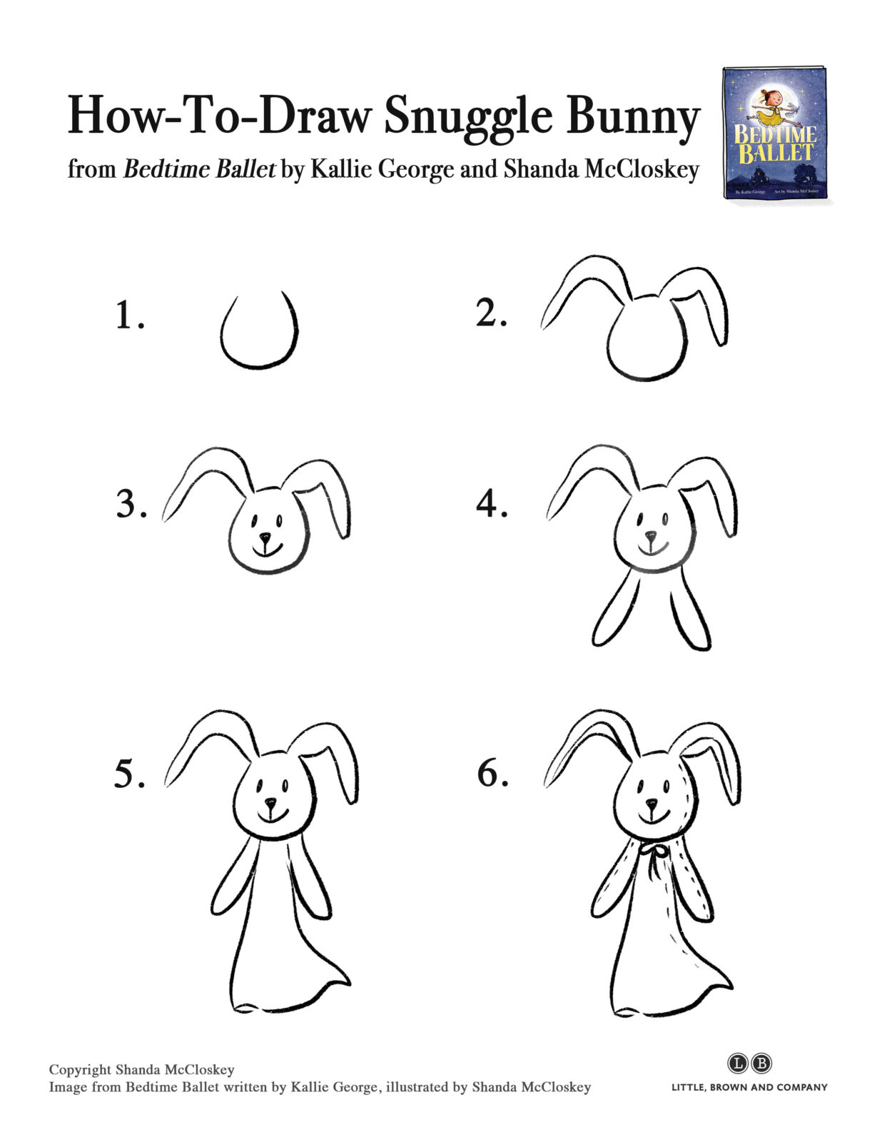 How-to-draw Snuggle Bunny from the book Bedtime Ballet
